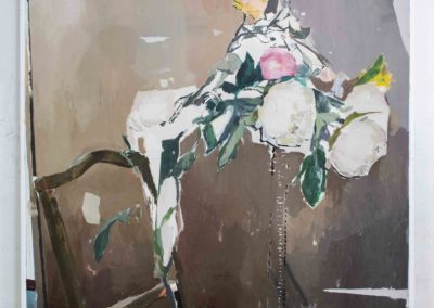 FLOWERS AND WOOD TO EMILIA<br/>Oil on canvas<br/> 195 X 130 cm<br/>Oil and spray on canvas<br/> 195 X 130 cm